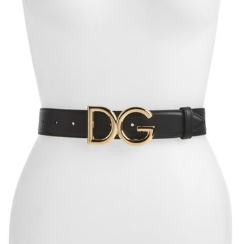Dolce&Gabbana Logo Buckle Leather Belt | Nordstrom