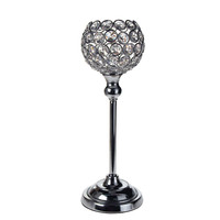 Crystal Globe Stand Metal Centerpiece Candle Holder, Silver, 12-1/2-Inch