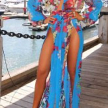Floral Printed Long Sleeve Cover-Up