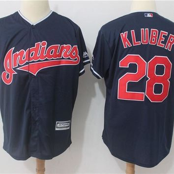 Cleveland indians 28 Corey Kluber Baseball Jersey Navy Blue Cool