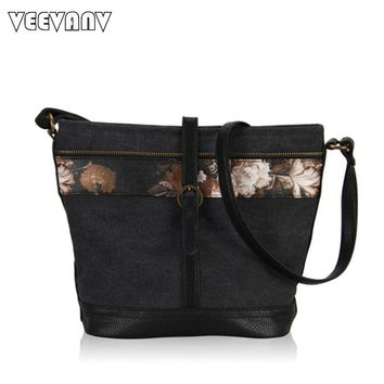 2017 Vintage Ladies Shoulder Bags Leather Messenger Bags Fashion Flower Printing Canvas Bag Women Large Capacity Crossbody Bag
