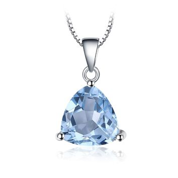 Jewelry Palace Triangle 2.4ct Natural Sky Blue Topaz Birthstone Pure 925 Sterling Silver Solitaire Pendant Necklace 18 Inches
