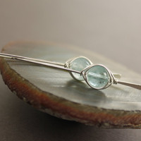 Pale blue aquamarine sterling silver earrings in squared hook design with herringbone wrapped stones - Aquamarine earrings