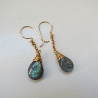 Labradorite Gold Filled and Oxidized Sterling Silver Dangle Earrings