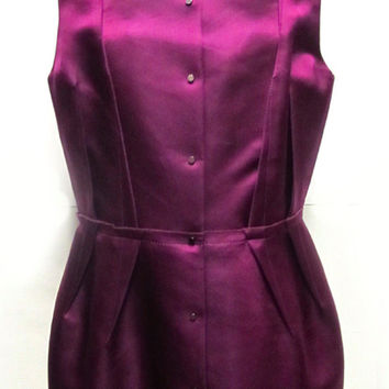 Lanvin Fall/Winter 2007 Rtw Magenta Button Down Sleeveless Blouse Size 42