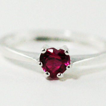 Ruby Heart Ring, 925 Sterling Silver, July Birthstone Ring, Lab Created Ruby Heart Ring, 925 Ruby Heart Ring, Sterling Ruby Ring