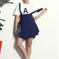 Alphabet Tee and simple suspender dress