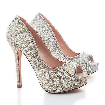 Carina9 Pearl & Rhinestone Studded Peep Toe Platform Stiletto Dress Pumps