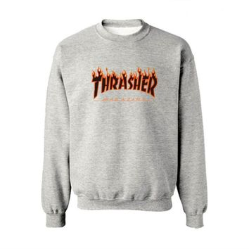 Fall and Winter Thrasher Flame Skateboard Tide Death Hip Hop West Coast Harajuku cotton round neck sweater Black letters