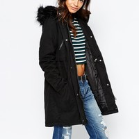 New Look Longline Parka With Faux Fur Hood