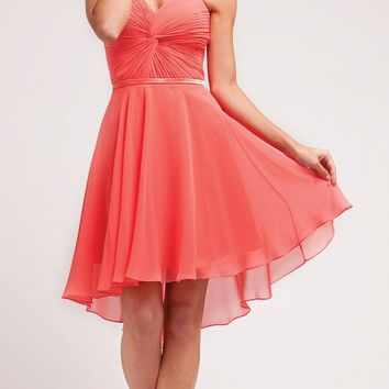 Short Twisted Bodice Chiffon Watermelon Bridesmaid Dress Strapless