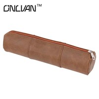Split Leather Pencil Bags High Quality Pencil Organizer School Tool Pencil Bags Office Accessories Business Accept Customized
