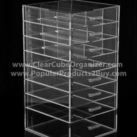 ACRYLIC CLEAR CUBE MAKEUP ORGANIZER 4 plus one w/Lid