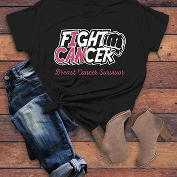 Women's Breast Cancer T Shirt Survivor Shirt I Can Fight Cancer Pink Ribbon Awareness Tee