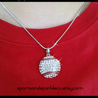 Baseball Bling Sports Rhinestone Pendant Necklace with Snake Chain