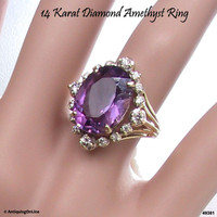 14K Amethyst Diamond Ring Vintage Engagement Ring 1970s Wedding Jewelry February Birthstone Gift for Her