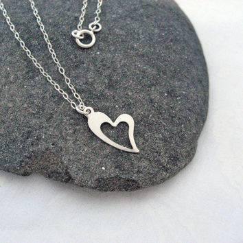 Heart Necklace, 925 Sterling Silver, Love Necklace, Minimal Necklace, Delicate Jewelry, Dainty Thin Chain, Layering Necklace