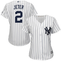 Derek Jeter New York Yankees Majestic Women's Cool Base Player Jersey – White