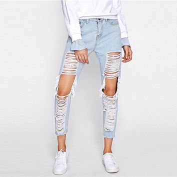 Extreme Distressed Ripped Jeans