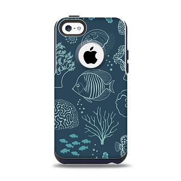 The Dark Teal Sea Creature Icons Apple iPhone 5c Otterbox Commuter Case Skin Set