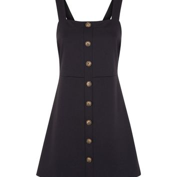 Black Button Front Jersey Pinafore Dress | New Look