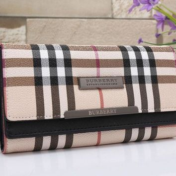 CREYV9O Burberry Women Leather Buckle Wallet Purse G