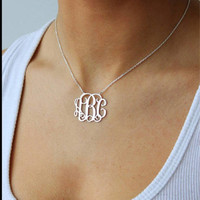 Monogrammed Sterling Silver Necklace- Gift-Bridesmaid -Bride