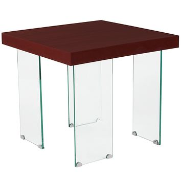 Forest Hills Collection Wood Grain Finish End Table with Glass Legs