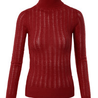 LE3NO Womens Textured Knit Turtleneck Long Sleeve Shirt