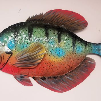 "Hand Crafted 32"" sun perch painted fish nautical decor wall hanging art sculpture steel"