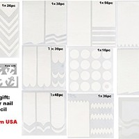 30 Sheets of Nail Art Designs French, Chevron, Teardrop, Round Nail Tip Guides Stickers (3 Sheets Each Style With a Free Gift)