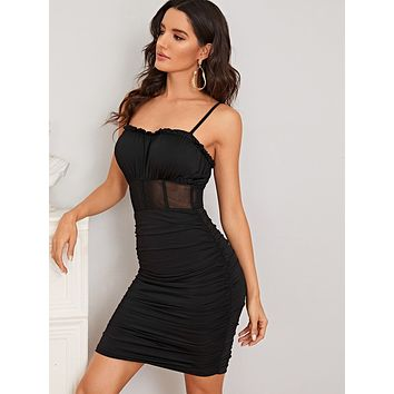 Mesh Insert Frill Trim Ruched Bodycon Dress