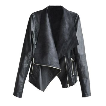 2017 New Autumn High Fashion Street Women's Vintage Biker Motorcycle Large lapel PU Leather Zipper Jacket Coat Black brown