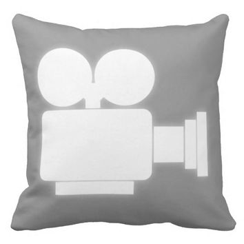MOVIE CAMERA (WHITE) Throw Pillow
