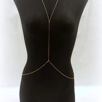 Gold Body Chain - Y Drop Body Chain - Beach Body Jewelry - body chain jewelry - Festival Jewelry