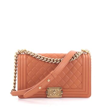 Chanel Pre-Owned: Boy Flap Bag Quilted Lambskin Old Medium | Bluefly.Com