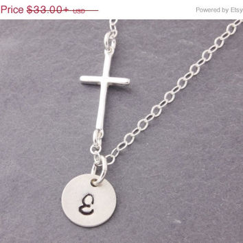 5-Day Sale Initial Cross Necklace, sideways cross necklace, religious necklace, personalized jewelry, engraved necklace, initial necklace, N