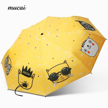 Fashion Cartoon Women's Umbrella Cat Anti UV Black Coating Sun