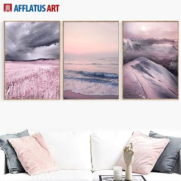 Wall Art Canvas Painting Posters And Prints Pink Ocean Mountain Landscape Decorative Painting Wall Pictures Living Room Decor