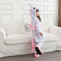 Pink Unicorn pajamas Kids Onesuit Children Unicorn Costumes Pajama Party Boys Girls Animals Cosplay Flannel Loose Warm Sleepwear