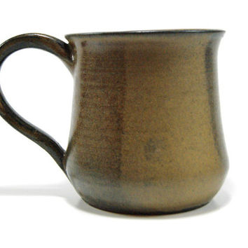 Dark brown and tan pottery coffee mug - wheel thrown mug - clay coffee mug - stoneware coffee cup - primitive coffee mug - Father's Day gift