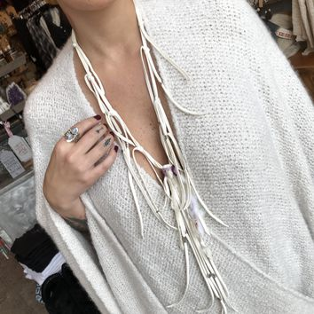 Heavenly Fringed Leather Necklace