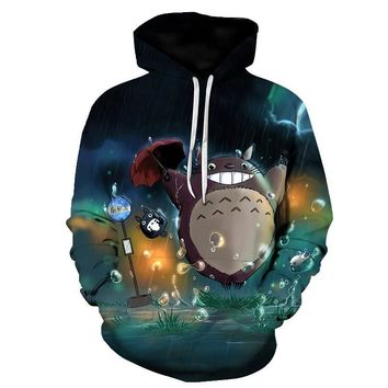 BZPOVB new Harajuku Anime Cartoon Hoodies Adventure Time/Totoro/ Kawaii Clothes 3D Hooded Sweatshirt Sudaderas Mujer 2018Kawaii Pokemon go  AT_89_9