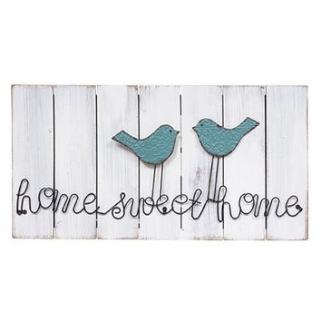 Home Sweet Home Wire Bird Wooden Sign