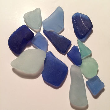 13 pieces of Genuine TEXAS Gulf Sea Glass beach treasure cobalt blue cornflower blue light blue