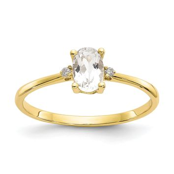 14k Yellow Gold Diamond & White Topaz Oval April Birthstone Ring