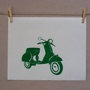 Vespa  Hand Printed  Linocut by WoodenSpoonEditions on Etsy
