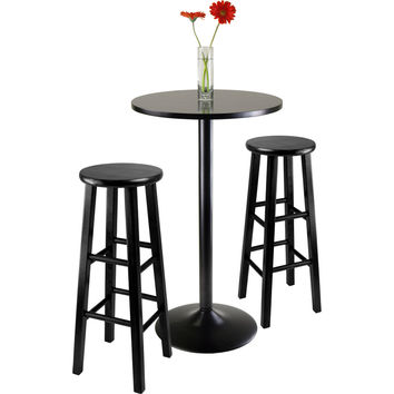"3 Piece Round Pub Table Two 29"" Wood Stools Square Legs Black"