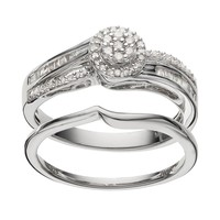 Always Yours Diamond Halo Engagement Ring Set in Sterling Silver (1/4 Carat T.W.) (White)
