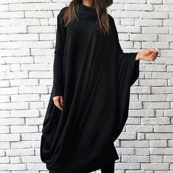 SALE XXL, XXXL Maxi Dress / Black Kaftan/Oversize Black Dress /Loose Asymmetric Tunic/Extravagant Stage Dress  / Long Party Dress by Metamor